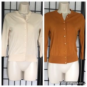 J. Crew Orange & Cream Classic Cardigan Bundle